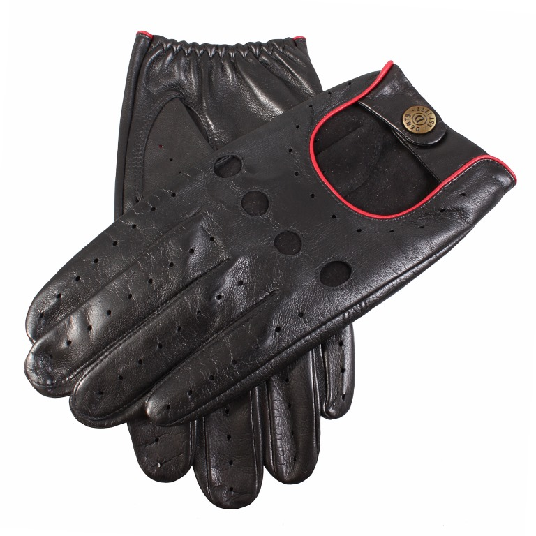 Classic Leather Driving Gloves Black/Berry