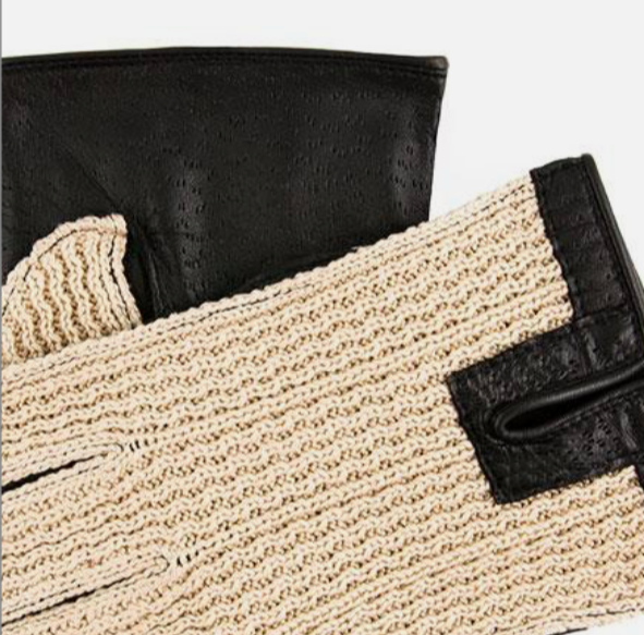 Crochet Back Leather Driving Glove