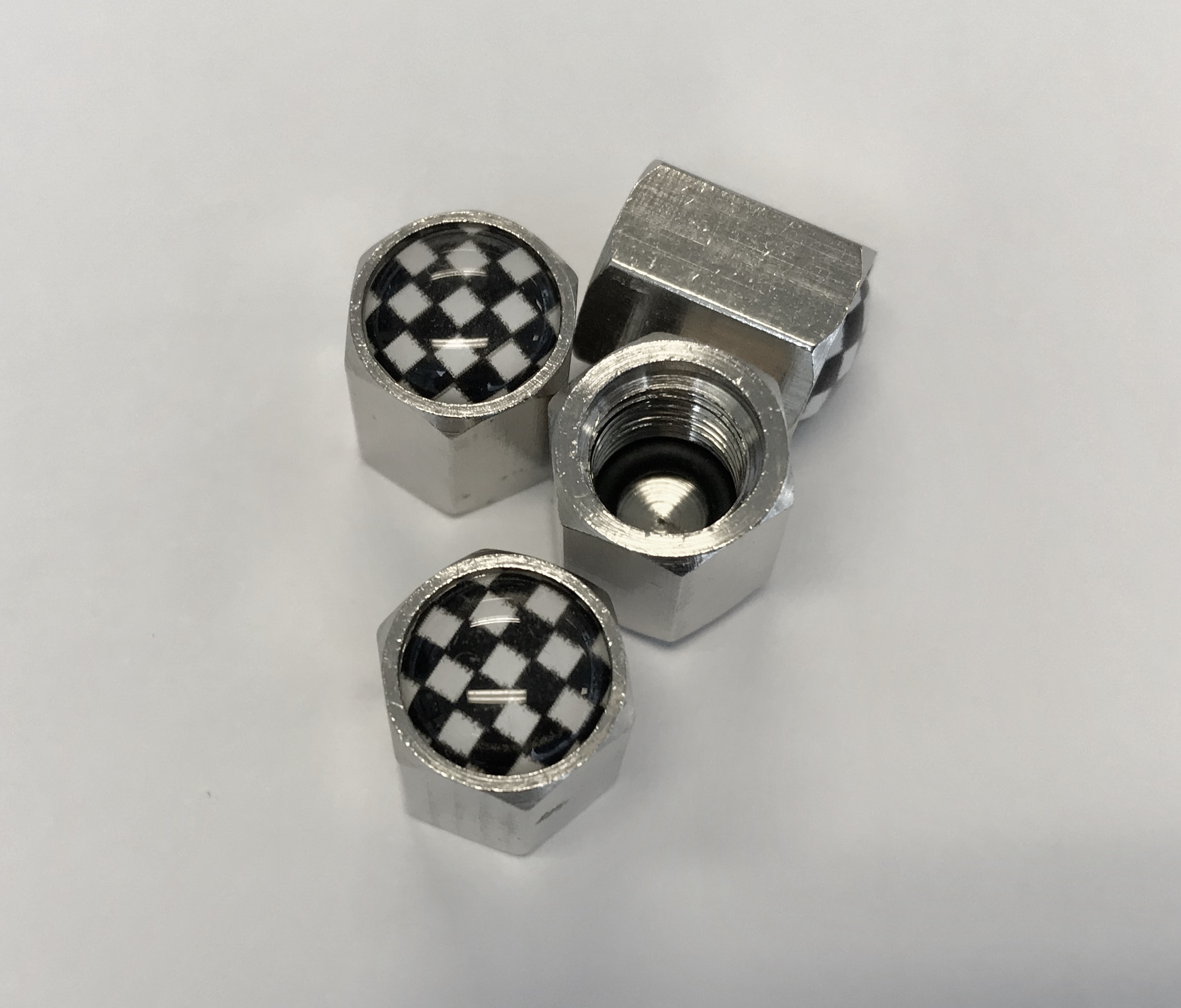 Chequered Flag Tyre Valve Stem Caps