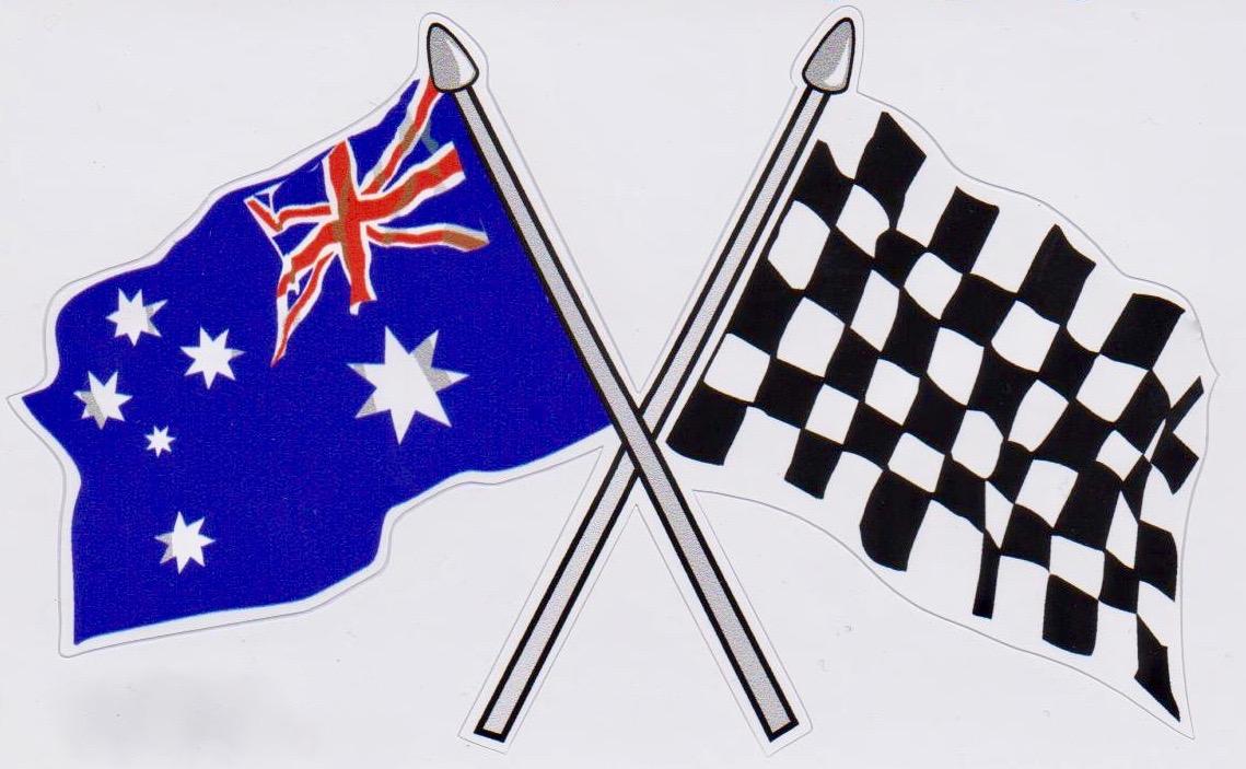Crossed Chequered & Australian Flag Sticker