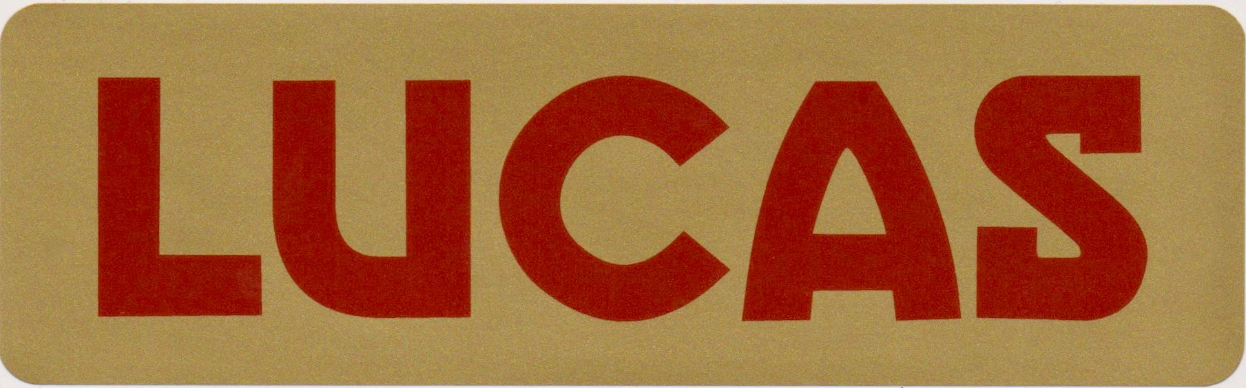 Lucas Car Battery Sticker Red And Gold