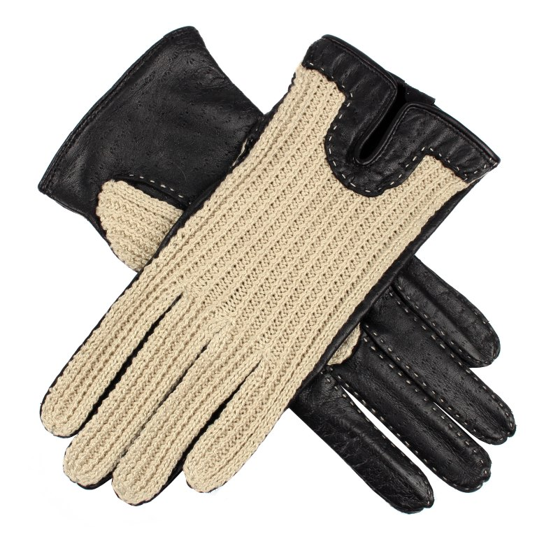 Women's Crochet Back Driving Gloves in Black