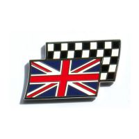 Enamel Union Jack Over Chequered Flag Stick On Badge