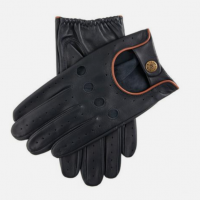 Classic Leather Driving Gloves Navy/Tan