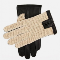 Crochet Back Leather Driving Gloves in Black