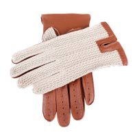 Crochet Back Leather Driving Gloves in Cognac