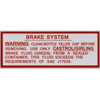 Jaguar Servo Brake System Green Fluid Sticker