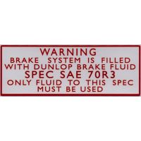 Brake System Filled With Dunlop Brake Fluid Sticker