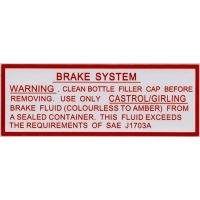 Jaguar Servo Brake System Colourless to Amber Fluid Sticker