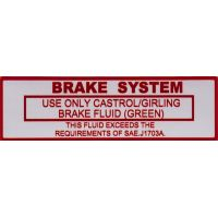 Brake System Use Only Castrol/Girling Sticker