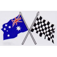 Crossed Chequered & Australian Flag Sticker
