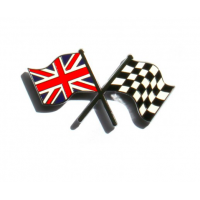 Enamel Crossed Flags Stick On Badge
