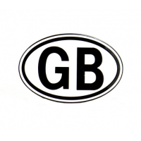 GB Plate Metal Oval Black On White