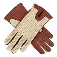 Kelly - Women's Crochet Back Driving Gloves in Cognac
