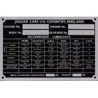 Jaguar XK MK 2 Chassis Plate CP365
